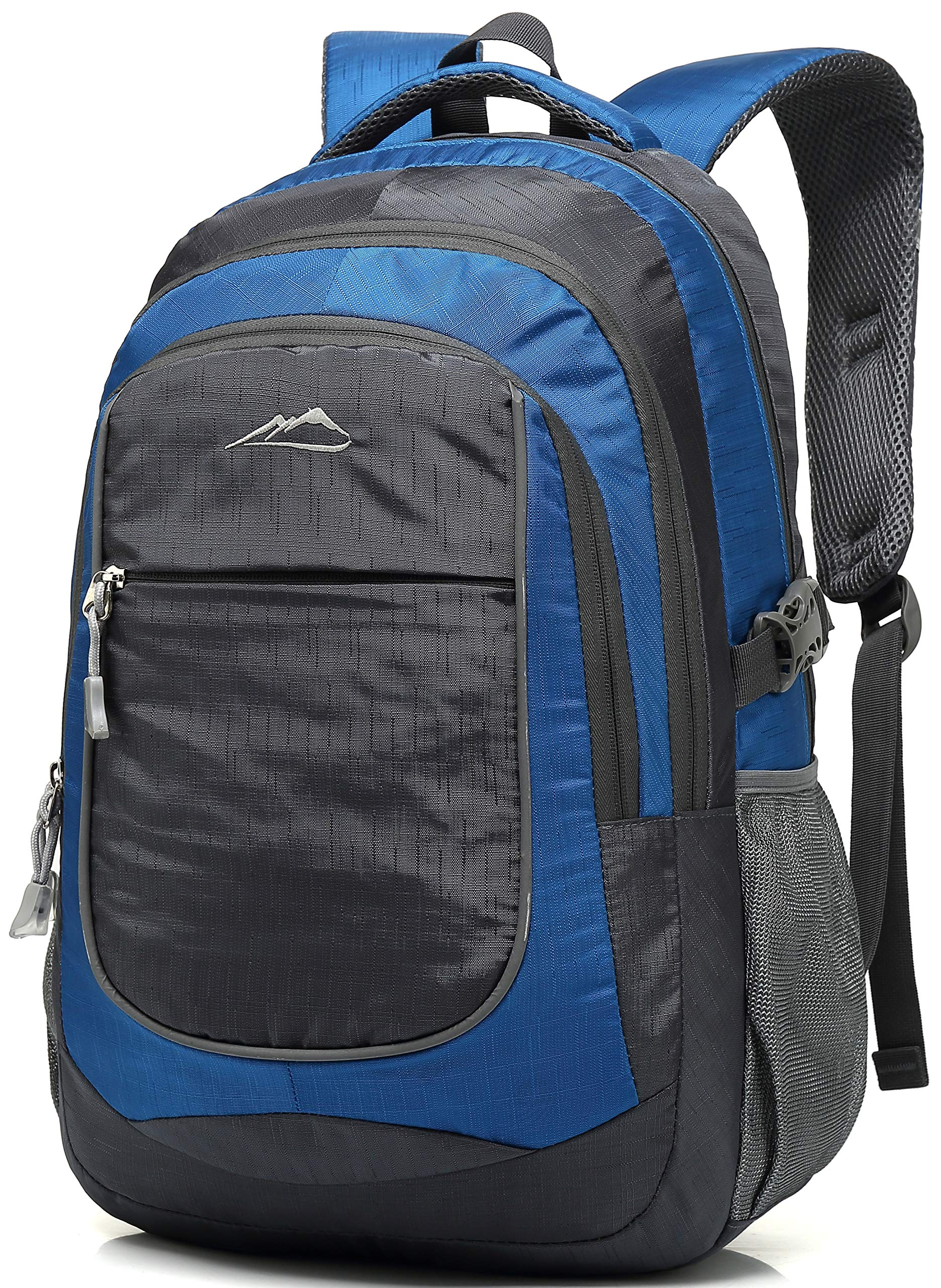 School Backpack For College Travel Hiking Fit Laptop Up to 15.6 Inch Water Resistant (Blue)