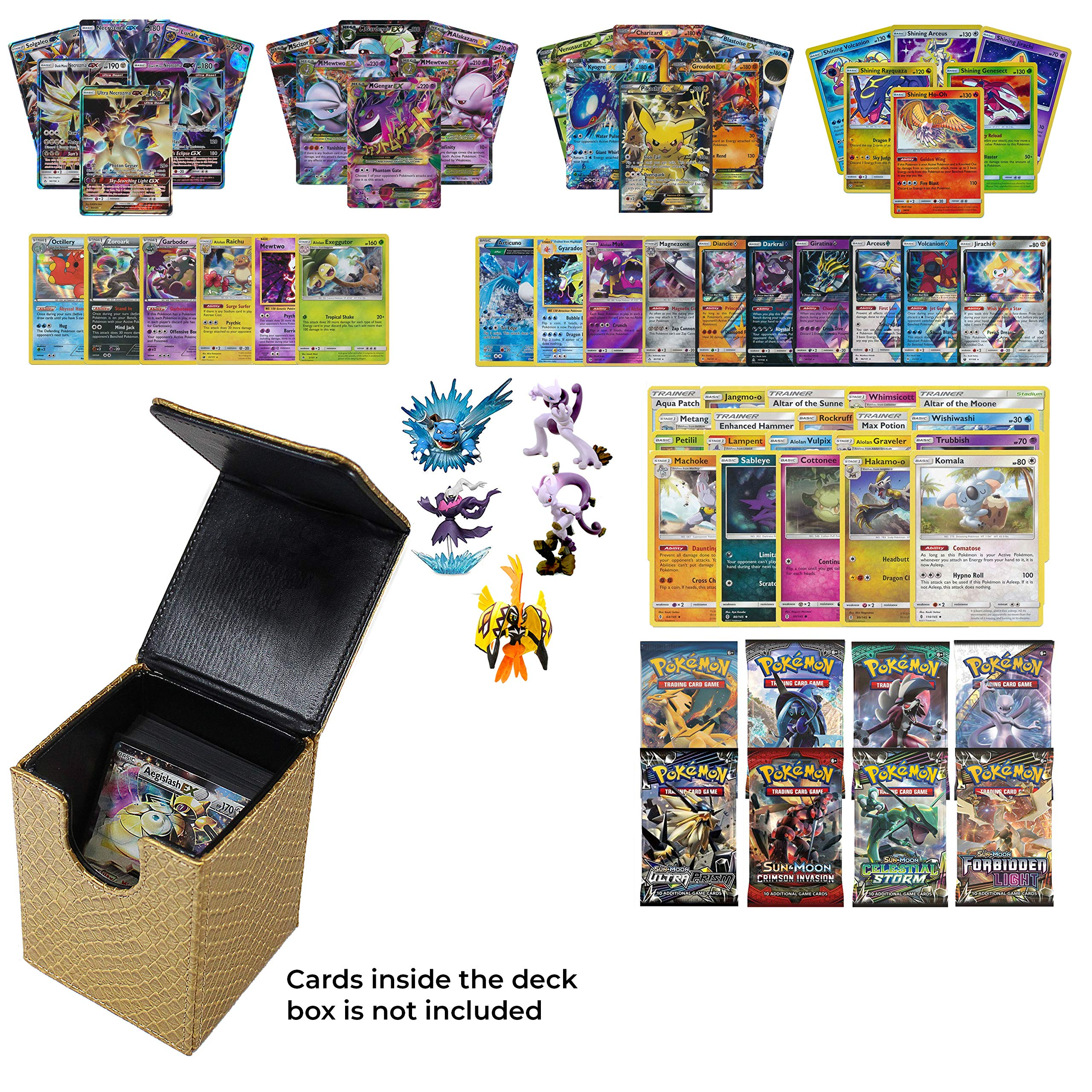 Playoly Pokemon Premium Collection 100 Cards with GX Mega EX Shining Holo 10 Rares 4 Booster Pack- 1 Gold Dragonhide Deck Box and Figure