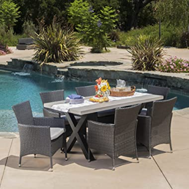 Christopher Knight Home Seabrook Patio Furniture | 7 Piece Outdoor Dining Set | Light-Weight Concrete Rectangular Table | Premium Wicker Dining Chairs in Grey