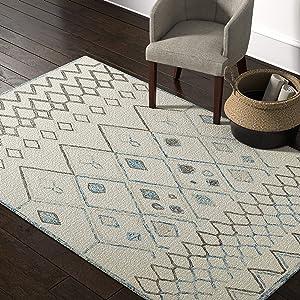 Amazon Brand – Rivet Geometric Boho Bohemian Wool Area Rug, 5 x 8 Foot, Cream with Blue