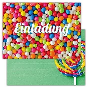 12 Lustige Einladungskarten Im Set Für Kindergeburtstag Party Mit  Süßigkeiten, Lolli Für Jungen Mädchen Kinder