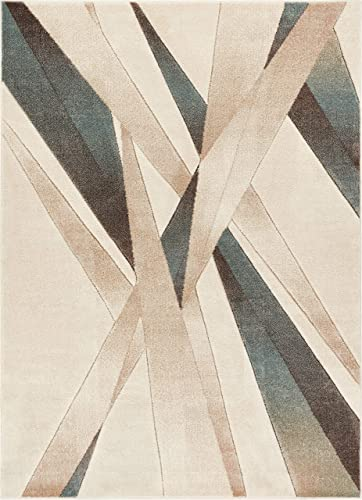 Well Woven Sortie Soft Blue Modern Geometric Lines Hand Carved 8×11 7 10 x 9 10 Area Rug Easy to Clean Stain Fade Resistant Thick Soft Plush