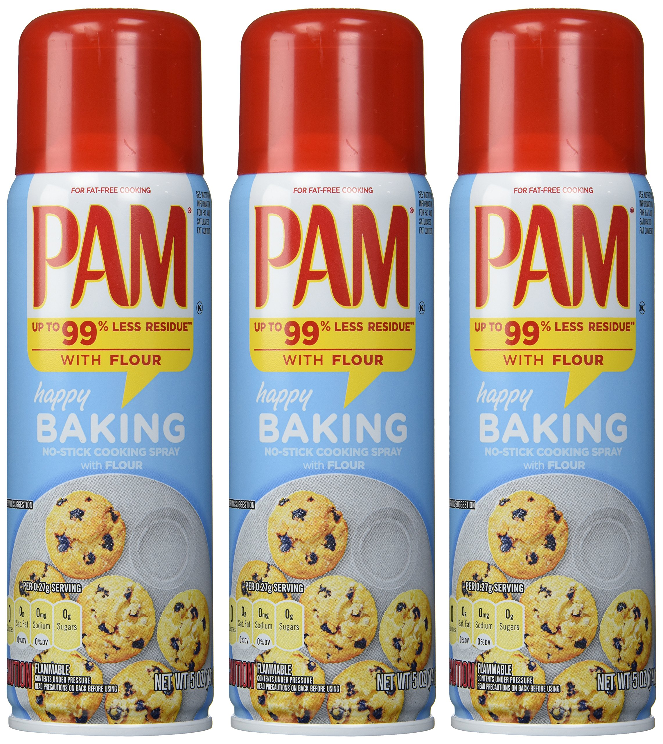 PAM Baking Spray with Flour 5 fl oz PACK , 15 Ounce, (Pack of 3)