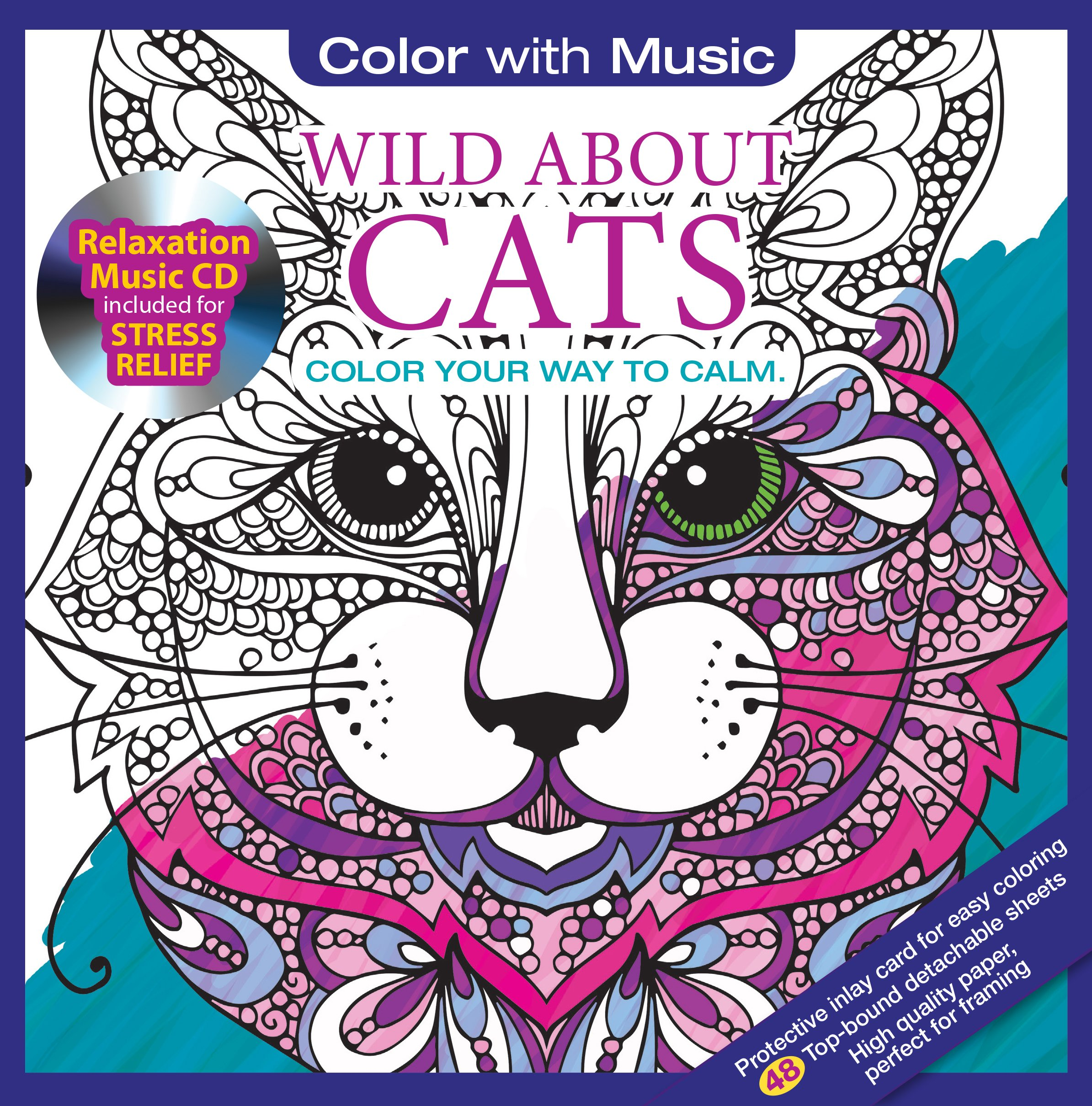 Amazon.com: Wild About Cats Adult Coloring Book With Bonus ...