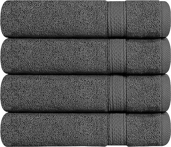 Utopia Towels, Toallas Grandes de Algodón, Paquete de 4, Gris, 16 x 28 cm (16 x 28 inch): Amazon.es: Hogar