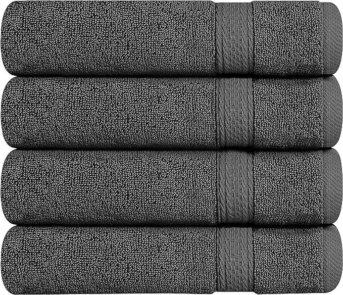 Utopia Towels - Toallas de Mano Grandes de algodón multipropósito para baño, Manos, Cara, Gimnasio y SPA - Dimensiones 41 cm x 71 cm - Paquete de 4 (Gris): ...