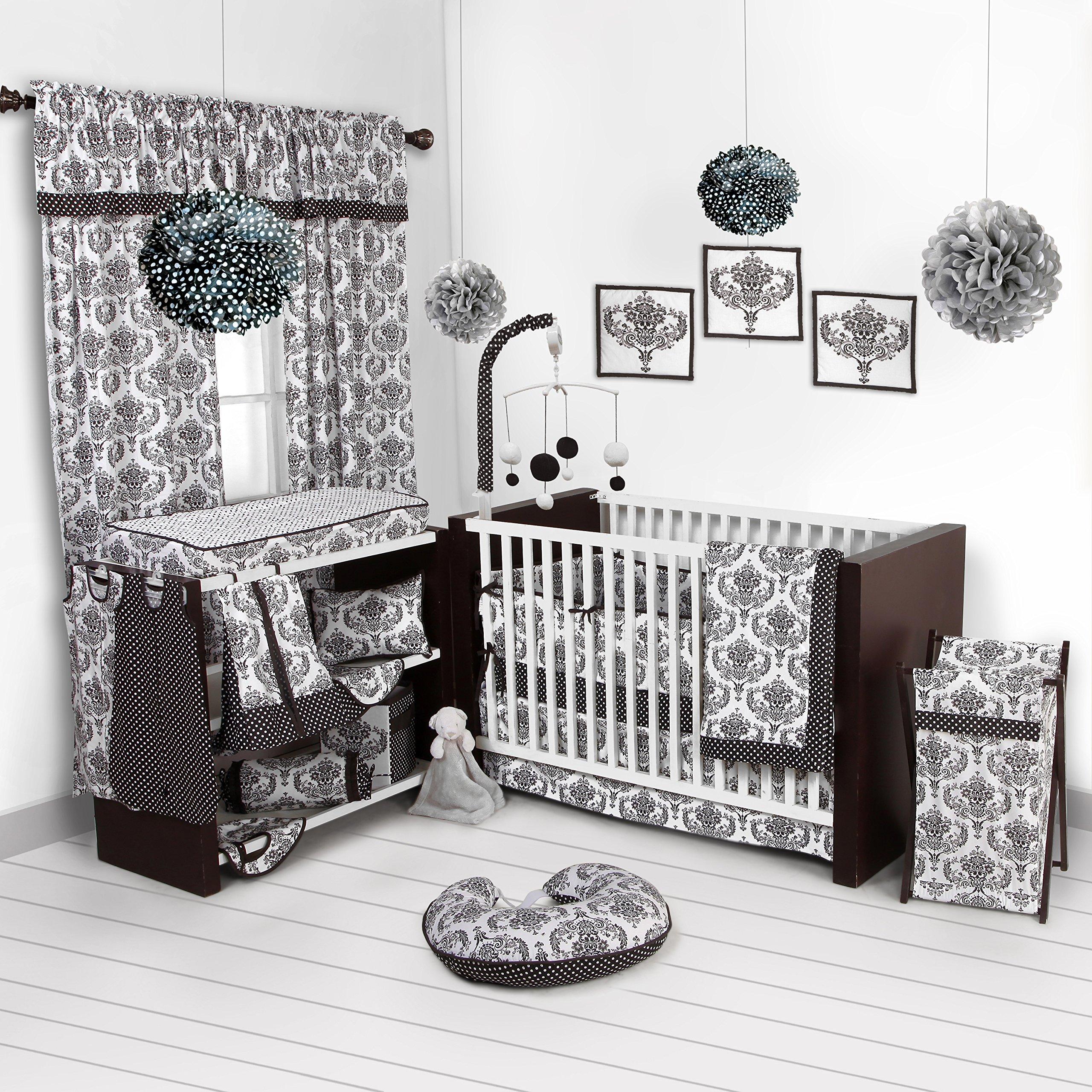 Bacati - Classic Damask White/black 10 Pc Crib Set Including Bumper Pad by Bacati