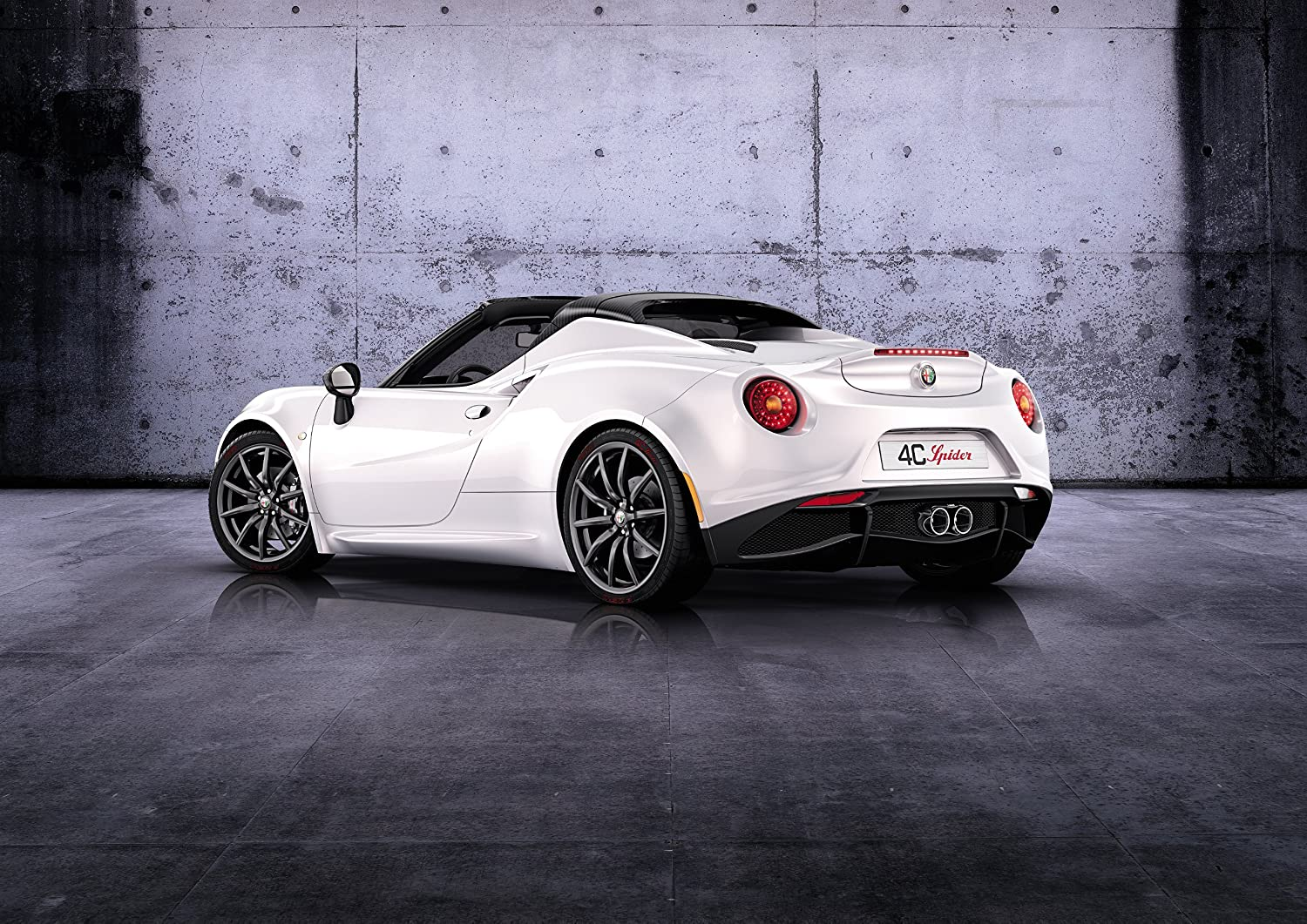 """Alfa Romeo 4C Spider (2014) Car Art Poster Print on 10 mil Archival Satin Paper White Rear Side Static View 36""""x24"""""""
