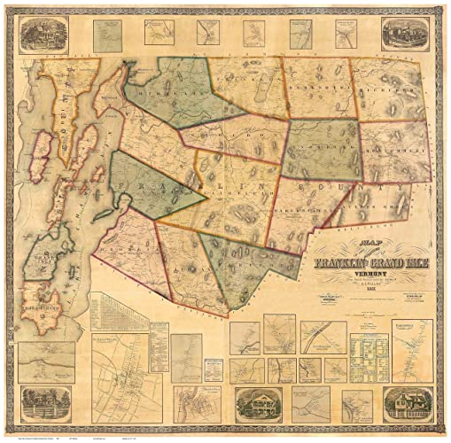 Amazon.com: Franklin & Grand Isle Counties Vermont 1857 - Wall Map ...