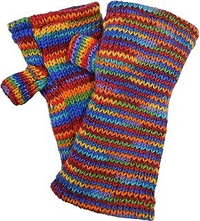 Gheri Womens Warm Woolen Fleece Lined Hand Knitted Striped Mittens Handwarmers