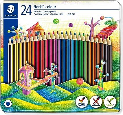 Staedtler Noris 185 M24. Lápices de colores ecológicos. Caja de metal con 24 unidades.: Amazon.es: Oficina y papelería