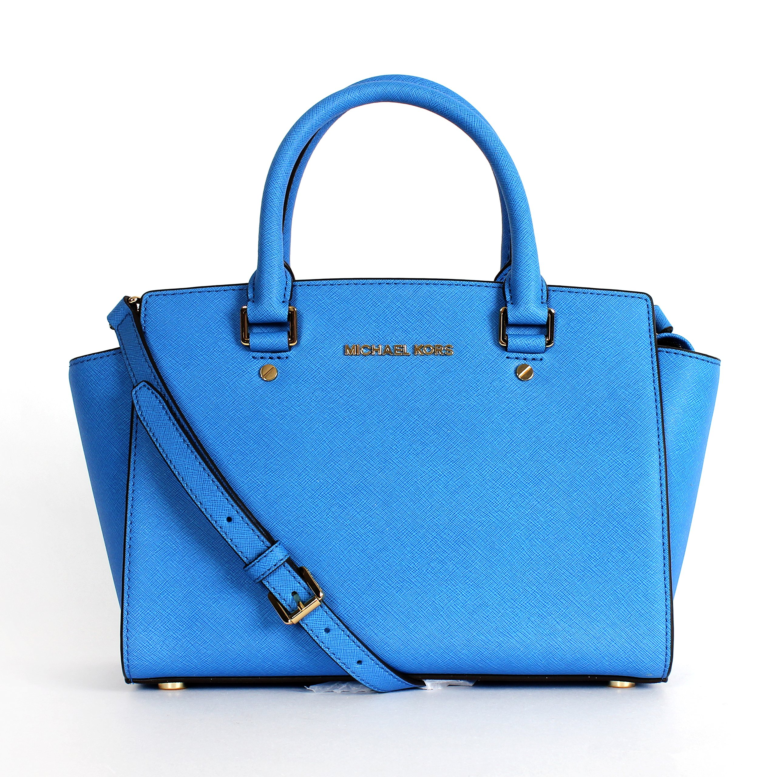 MICHAEL Michael Kors Womens Selma Leather Textured Satchel Handbag Blue Medium