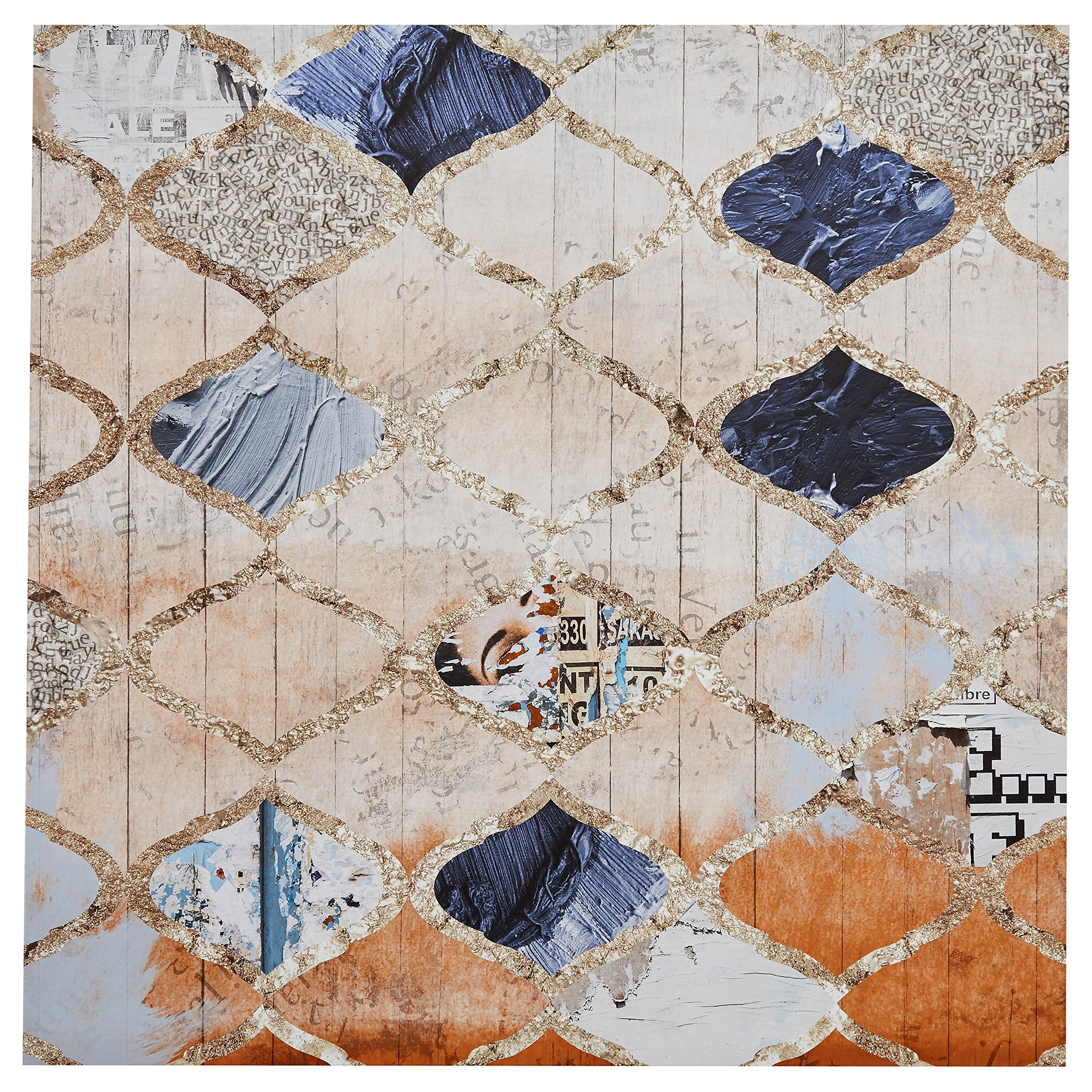 Contemporary Blue and Tan Moroccan Print on Canvas, 36'' x 36''