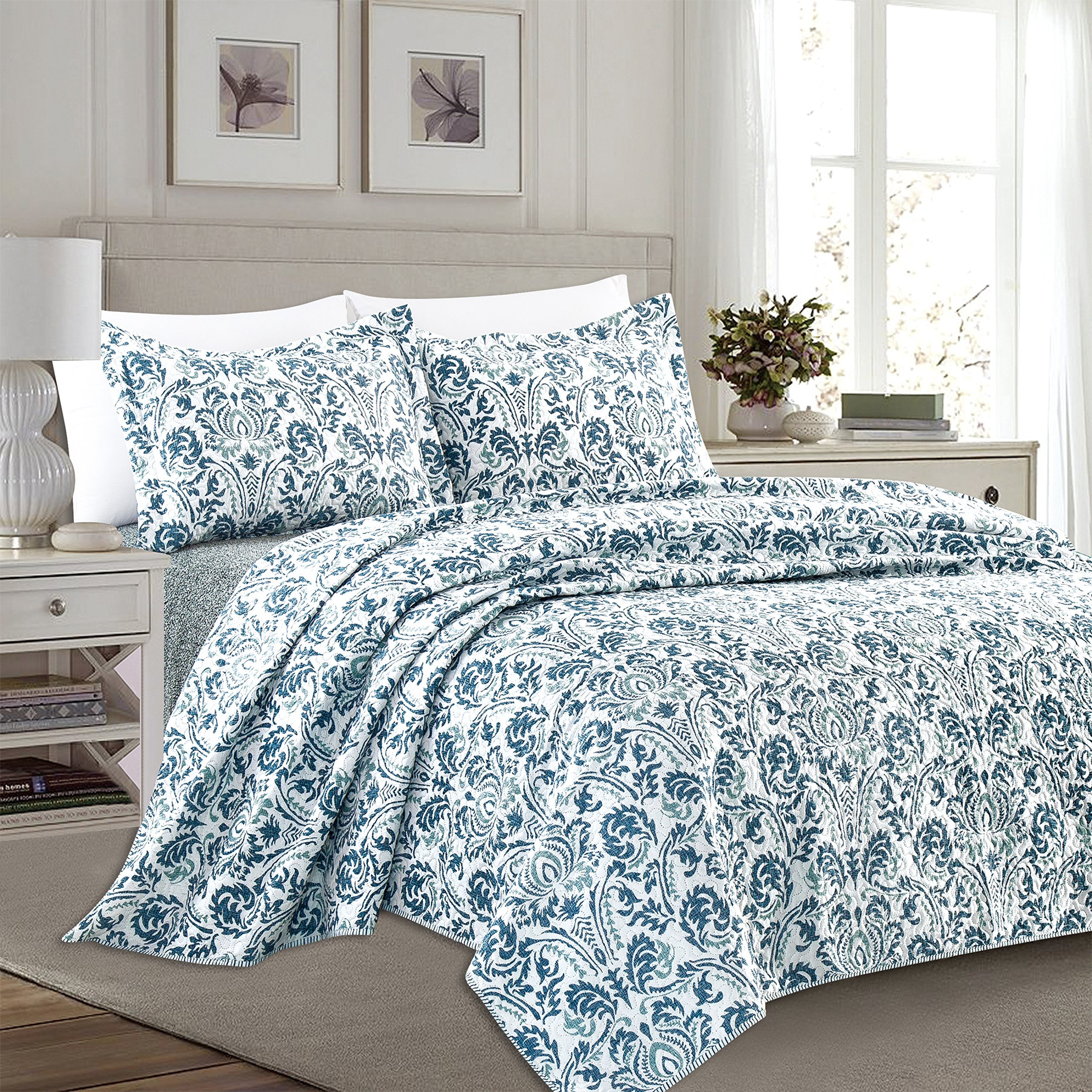 Home Fashion Designs 3-Piece Reversible Quilt Set with Shams. All-Season Bedspread with Floral Printed Pattern in Bright Colors. Claribel Collection By Brand. (Full/Queen, Multi)