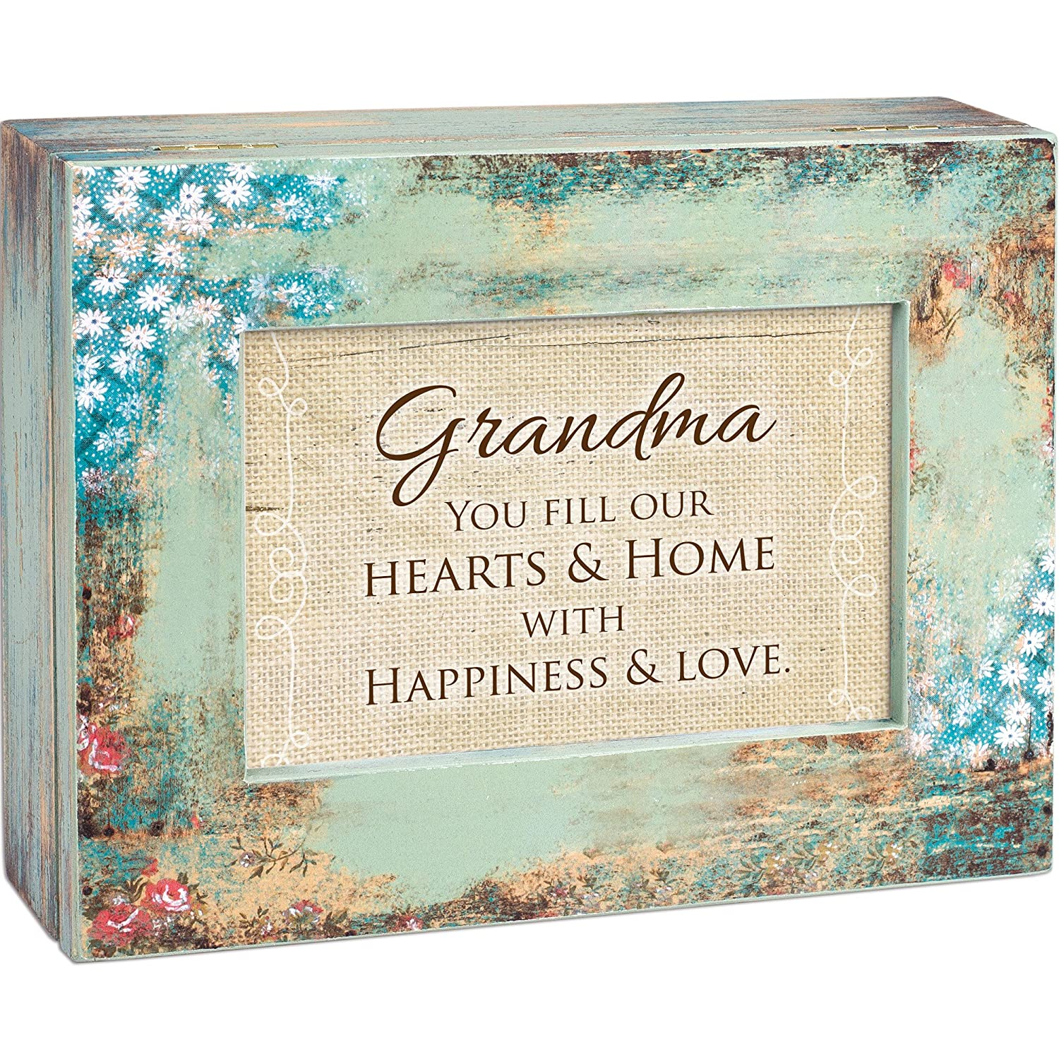 Cottage Garden Grandma Fill Hearts With Love Distressed Wood Jewelry Music Box Plays Tune Wind Beneath