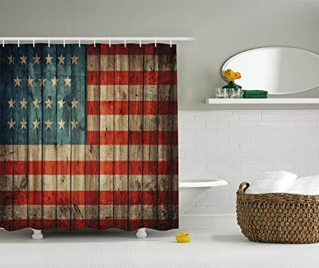 extra brown and red shower curtain. American Flag Decor by Ambesonne  USA Patriotism Painted Old Wooden Looking Background Design Amazon com