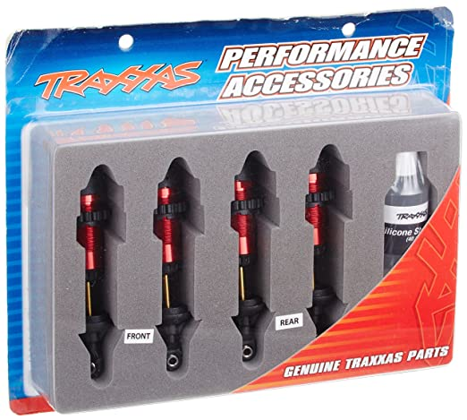 Traxxas 5460R Red-Anodized Aluminum GTR Shocks (fully assembled w/o  springs) (set of 4)