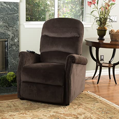 Delightful Alan Chocolate Fabric Lift Up Recliner Chair