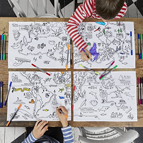 To Colour EatSleepDoodle World Map Placemats Set of 4