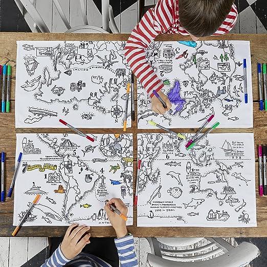 Eatsleepdoodle Doodle World Map Placemats Colour Your Own