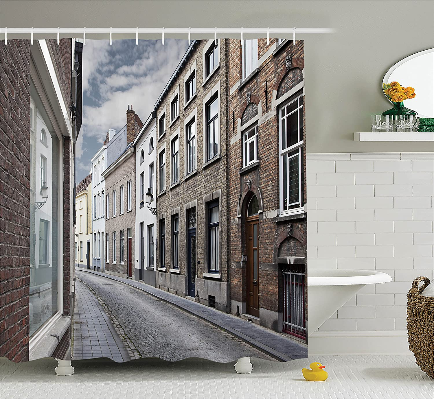 Ambesonne Wanderlust Decor Collection Gray White Cityscape of Bruges Streets Belgium Architecture Cobblestone Town Scene 75 Inches Long Polyester Fabric Bathroom Shower Curtain