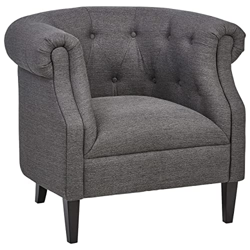 Ravenna Home Westcott Curved Tufted Rolled Arm Accent Chair, 34 W, Charcoal