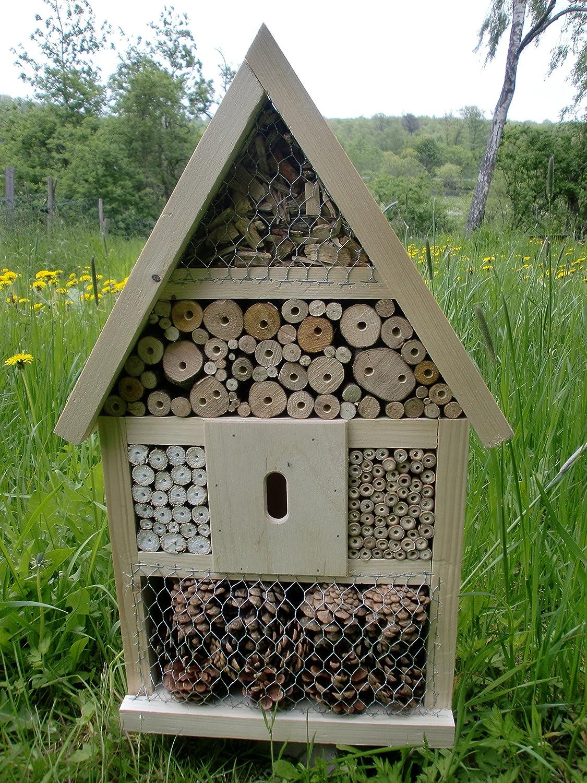 Hôtel à insectes insectes abeilles insectes à la main Nichoir prêt carbure naturel 56x 35x 10cm elna-shop