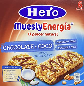 Hero - Barrita de cereales con coco y chocolate con leche, 6x25g - [pack
