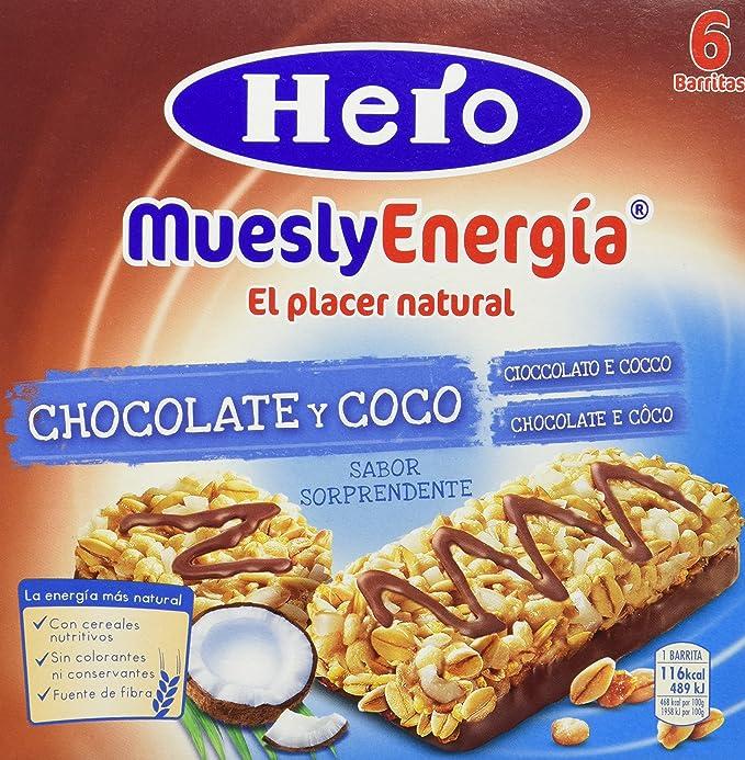 Hero - Barrita de cereales con coco y chocolate con leche, 6x25g - [pack