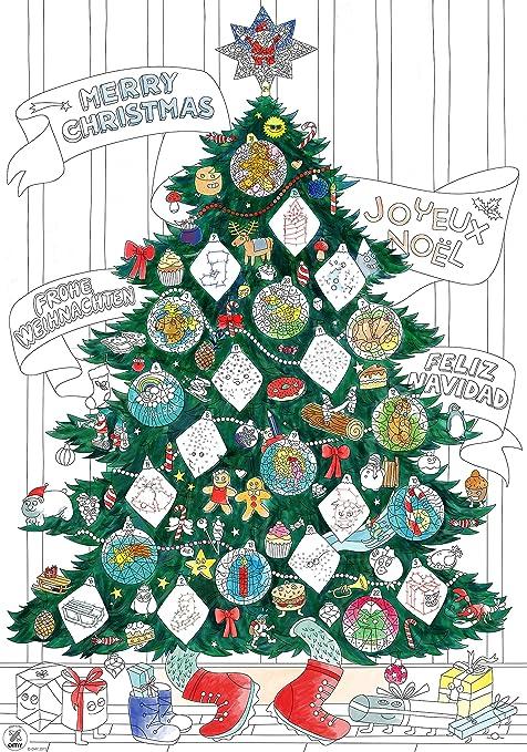 Omy Poster Géant à Colorier Sapin De Noel Format Encadrable 70 X 100 Cm Stickers Phosphorescents