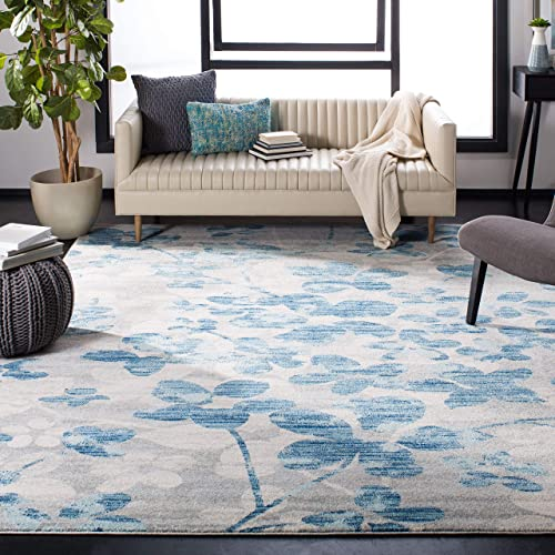 Safavieh Evoke Collection EVK236J Vintage Floral Grey and Light Blue Square Area Rug 6'7″ Square