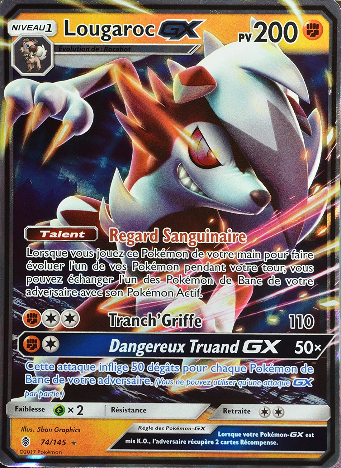 carte pokemon lougaroc gx carte Pokémon 74/145 Lougaroc GX (Forme Nocturne) 200 PV: Amazon