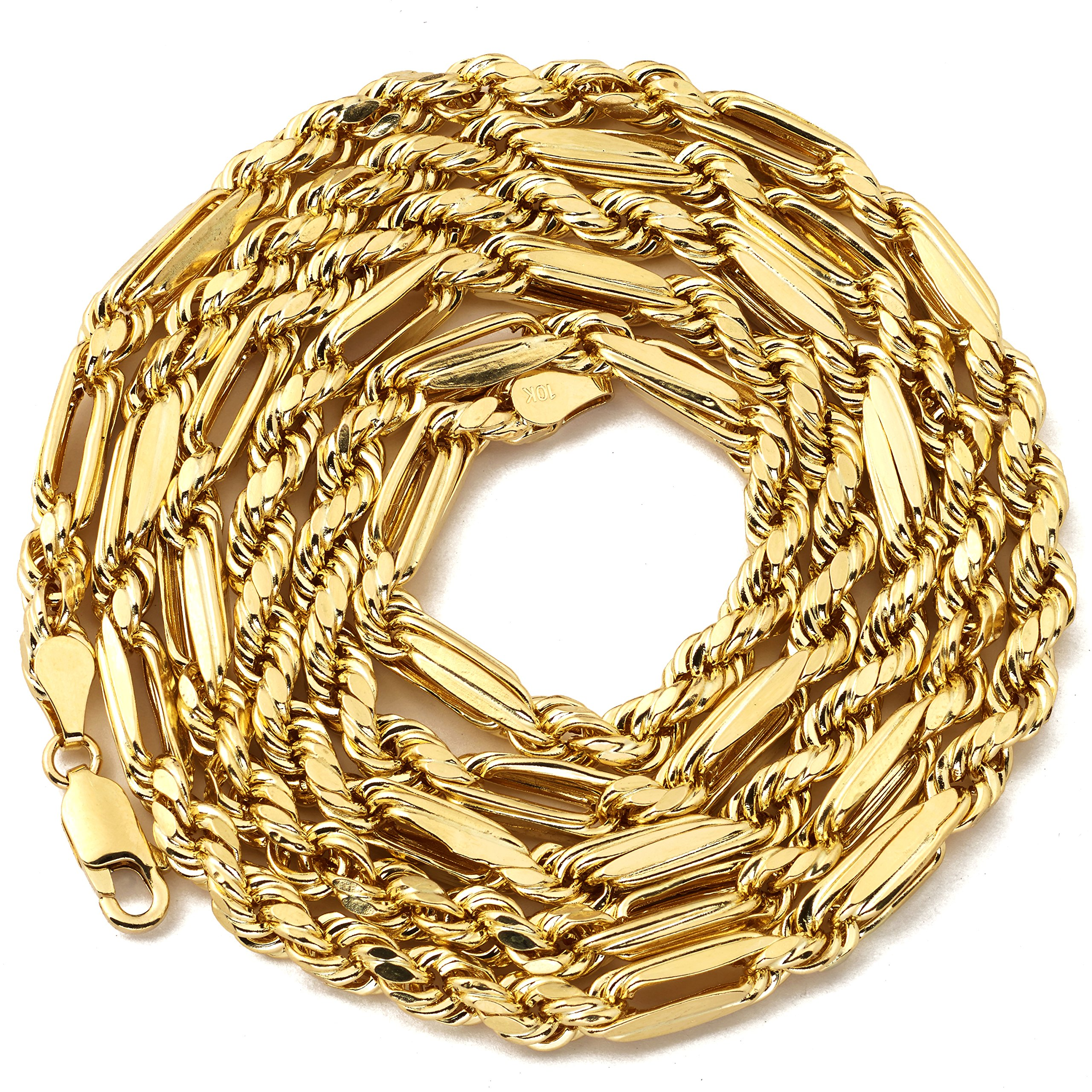LoveBling 10K Yellow Gold 4.5mm Diamond Cut FigaRope Milano Chain Necklace with Lobster Lock (30'')