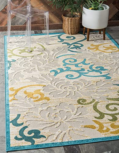 Unique Loom Outdoor Botanical Collection Carved Abstract Transitional Indoor and Outdoor Flatweave Blue Area Rug 4' 0 x 6' 0