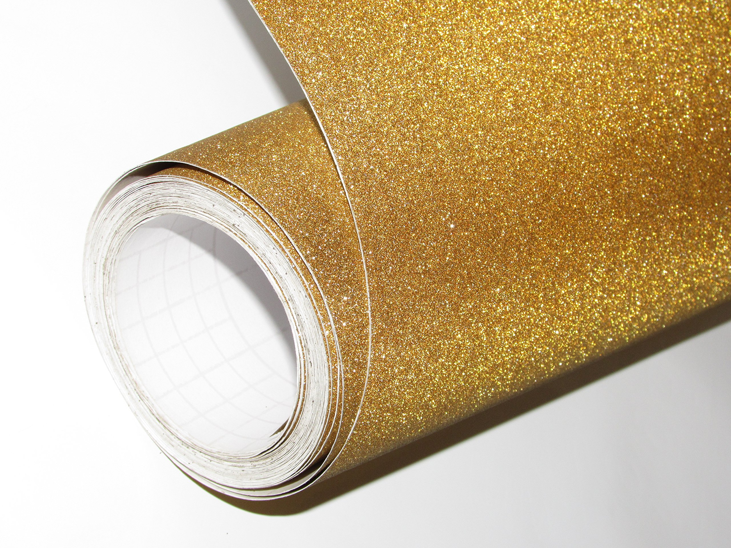 CVANU Glitter Self Adhesive Shelf Liner Film Vinyl Peel-Stick Multipurpose Roll, 12X36-inches (Golden) product image