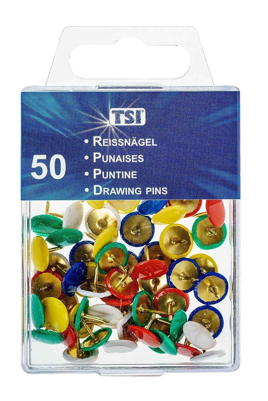 TSI puntine da disegno, confezione da 50 pezzi, colori assortiti confezione da 50pezzi TSI Schreibwaren Import GmbH & Co. KG 4022792480828