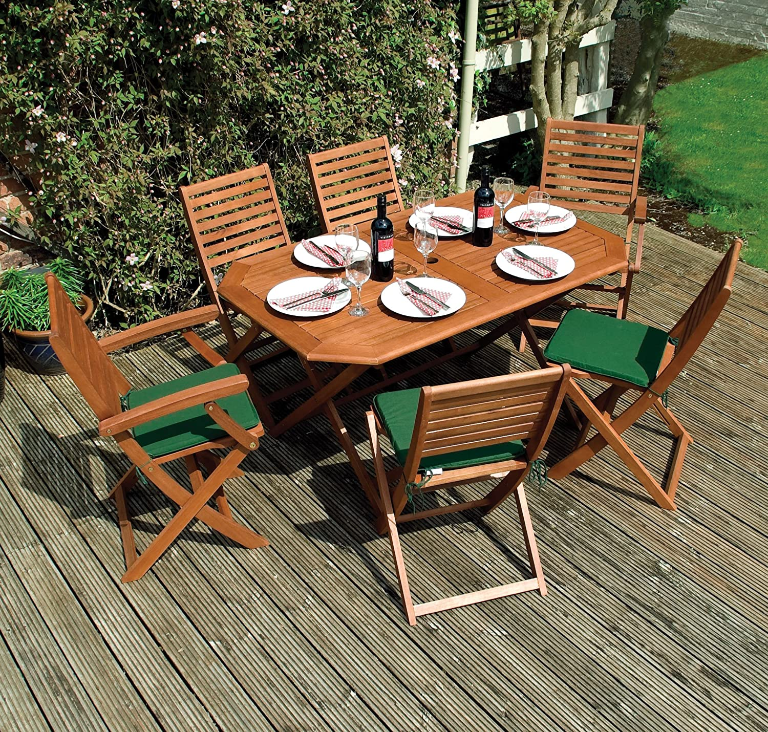 Rowlinson Plumley 6 Seater Garden Dining Set in Wood Natural 7