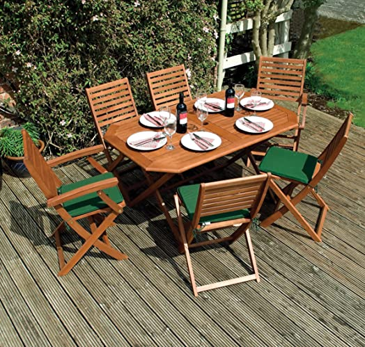 rowlinson plumley 6 seater garden dining set in wood natural 7 pieces