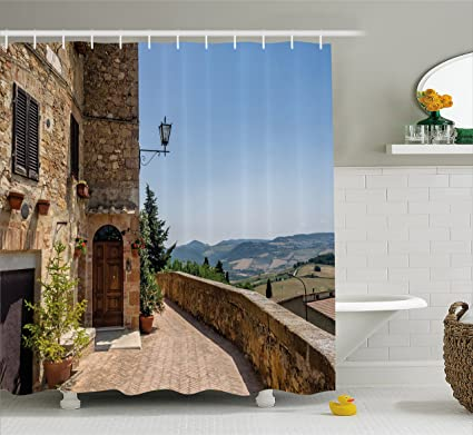 Ambesonne Italian Decor Shower Curtain By, The Walls Of Pienza In Tuscany  Historical European Landmark