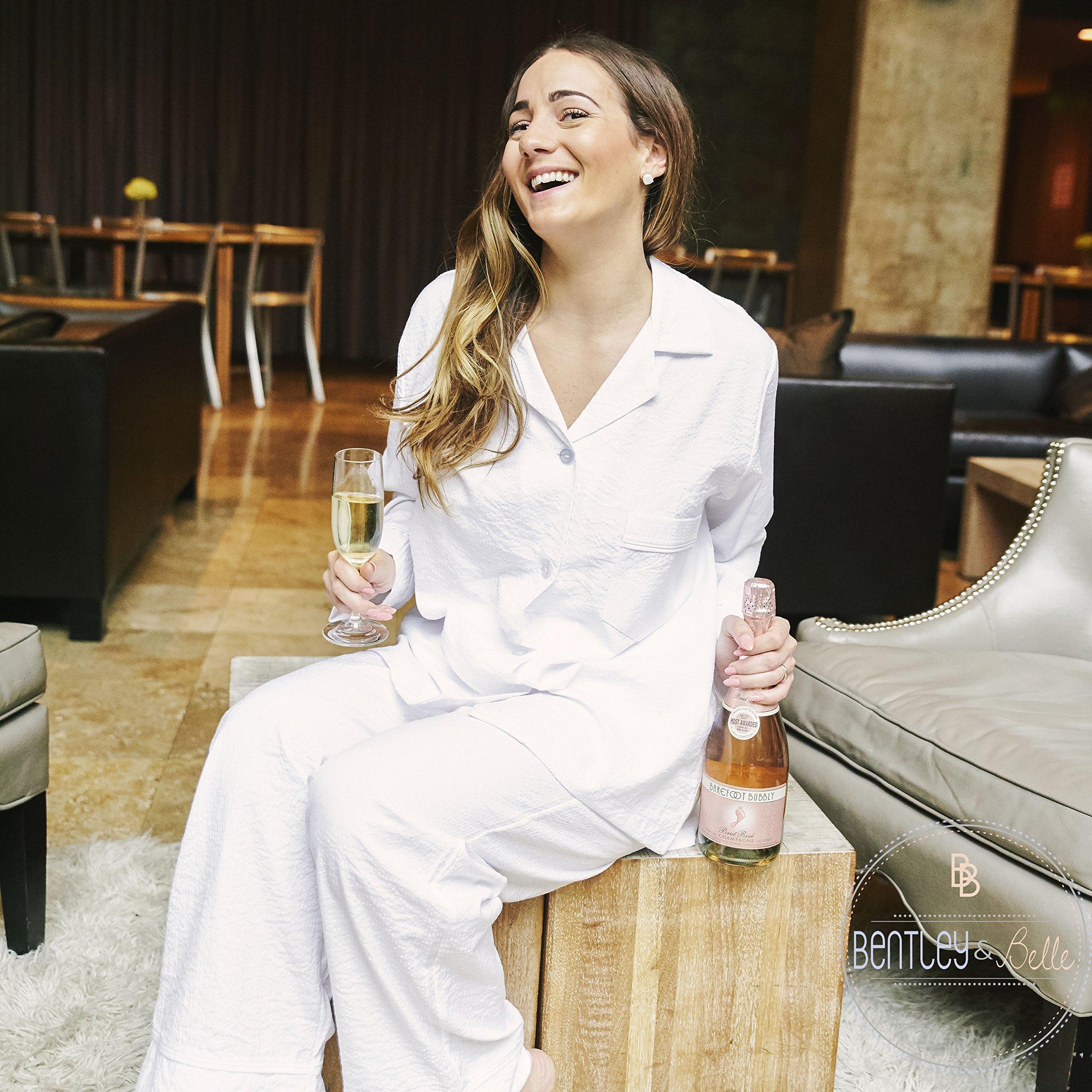 Women's White Seersucker Lounge Pant Set Monogram Bridal Pajamas Short Set