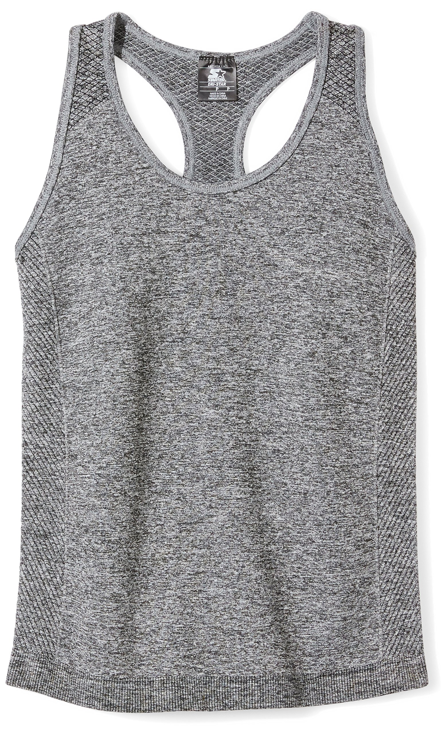 Starter Girls' Seamless Light-Compression Tank Top, Prime Exclusive, Iron Grey Jaspe, L (10/12)