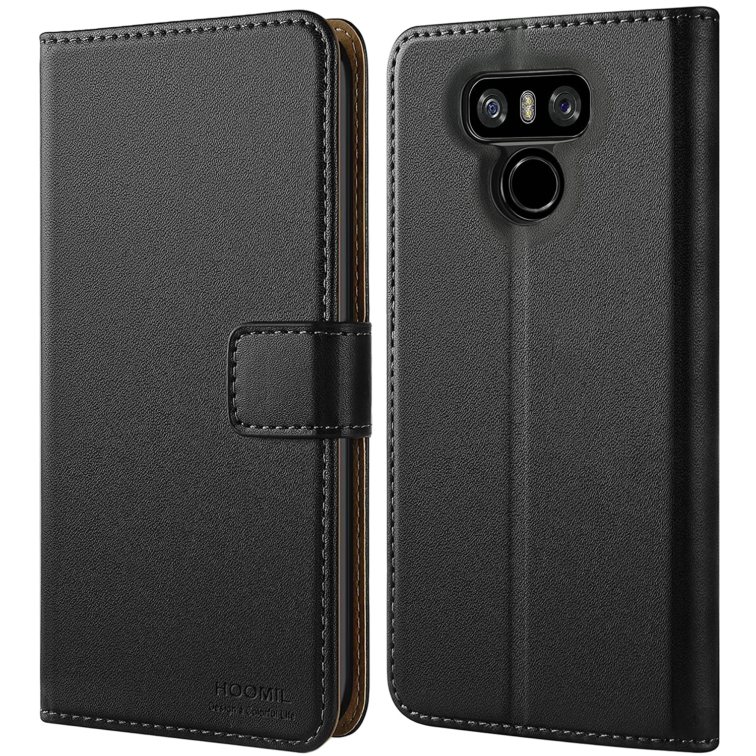sale retailer ec503 fd3bb HOOMIL Case Compatible with LG G6 and LG G6 Plus, Premium Leather Flip  Wallet Phone Case for LG G6 / LG G6 Plus Cover (Black)