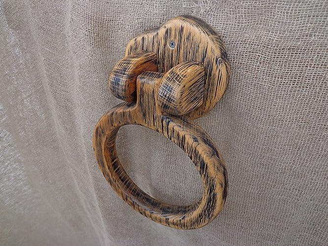 Towel Ring Holder Wooden Rustic Bathroom Hand Kitchen