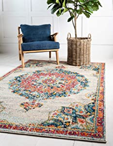 Unique Loom Penrose Collection Traditional Vintage Distressed Ivory Area Rug (5' 3 x 7' 7)