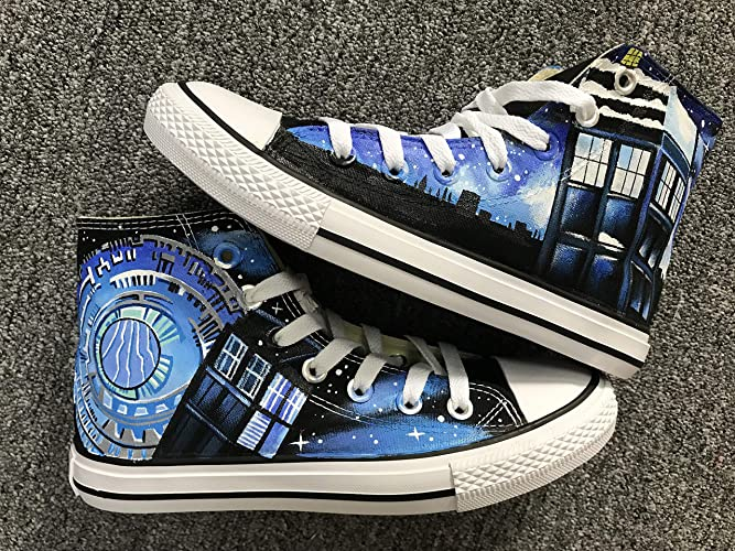 d4b297a3ed Amazon.com  Doctor Who Canvas Shoes High Top Painted Fashion Sneaker For Women  Men  Handmade