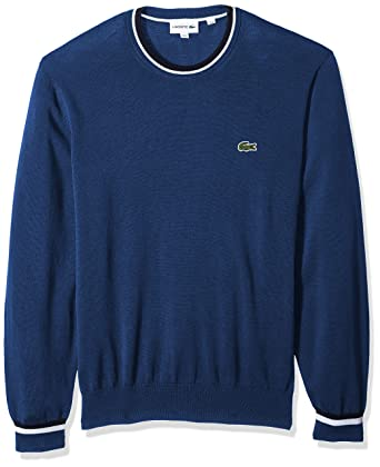 e7b2c65967aa Lacoste Men s Long Sleeve Classics Semi Fancy Jersey Sweater at Amazon Men s  Clothing store