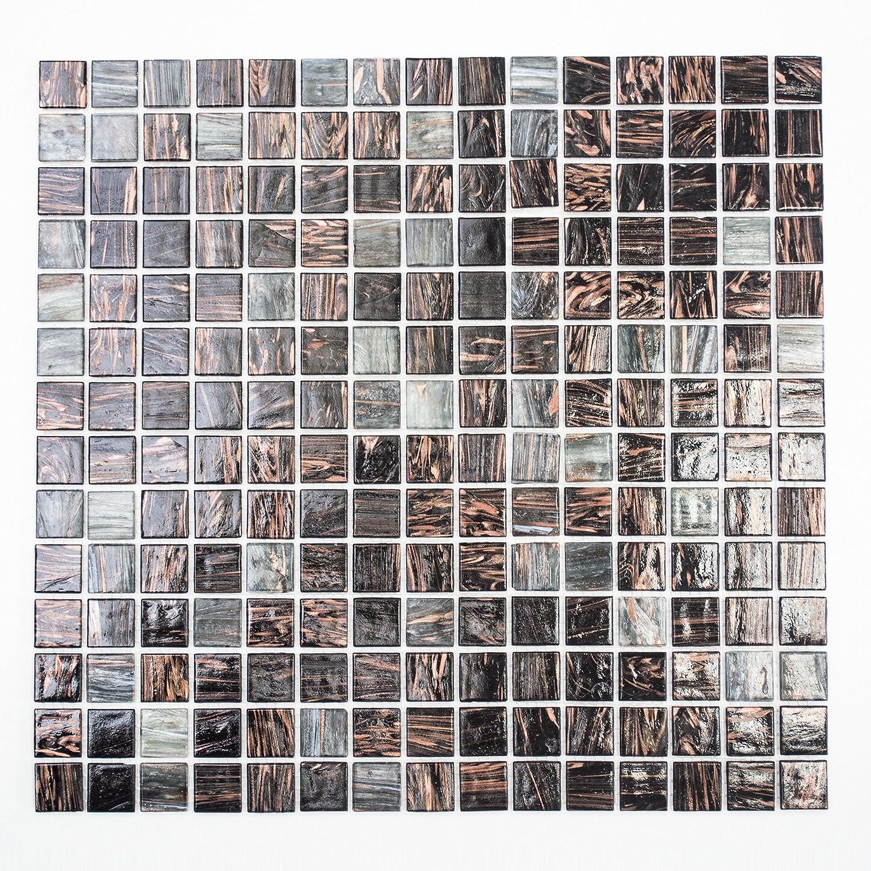 123mosaikfliesen Mosaikfliesen Fliesen Mosaik K/üche Bad WC Fliesenspiegel Quadrat Glas Mix Goldensilk dunkelgrau 4mm NEU #K678