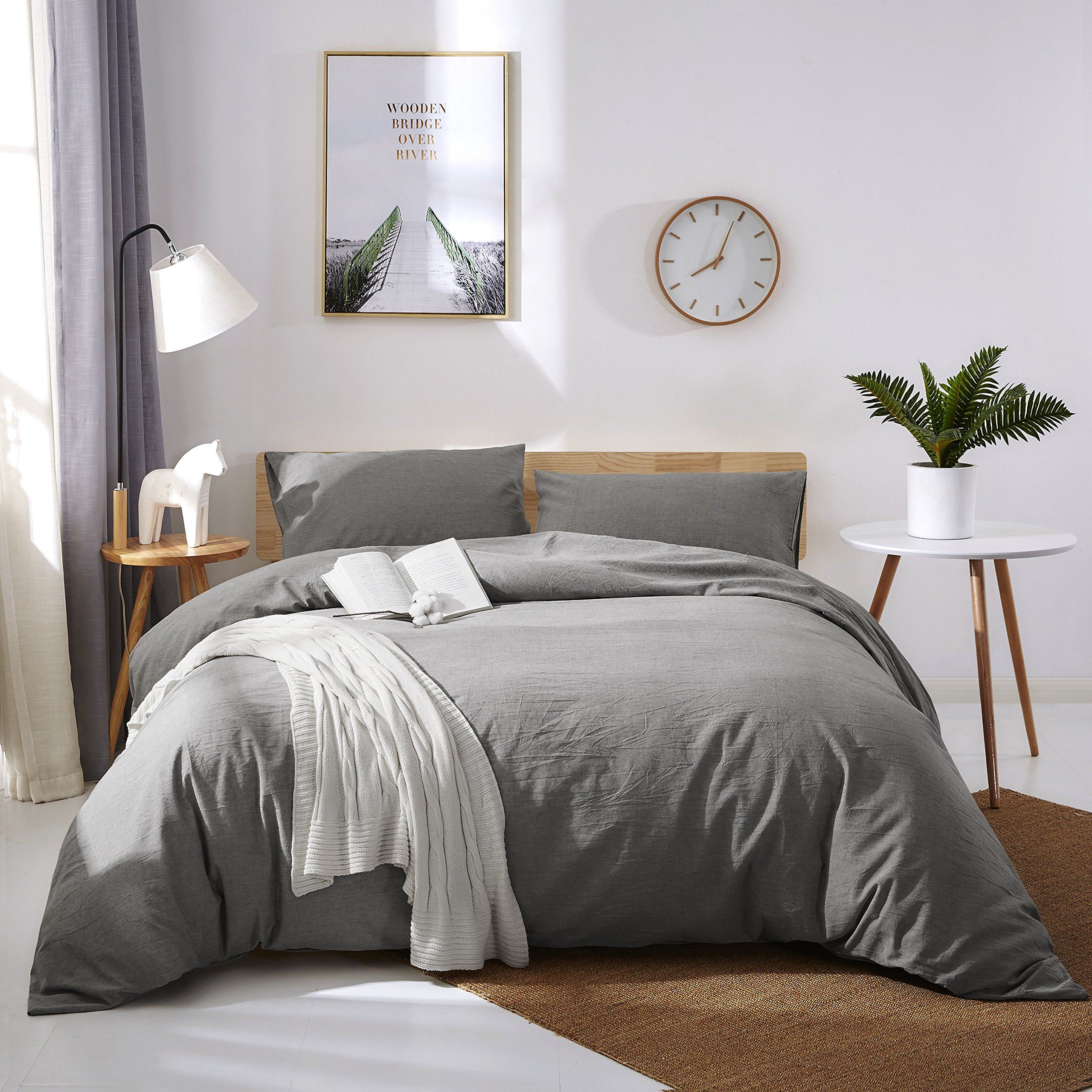 OAITE Duvet Cover Set, 100% Washed Cotton Duvet Cover, Ultra Soft and Easy Care, Bedding Queen Size Set, Color Gray, 3-Piece Duvet Cover Set Includes 2 Pillow Shams by OAITE