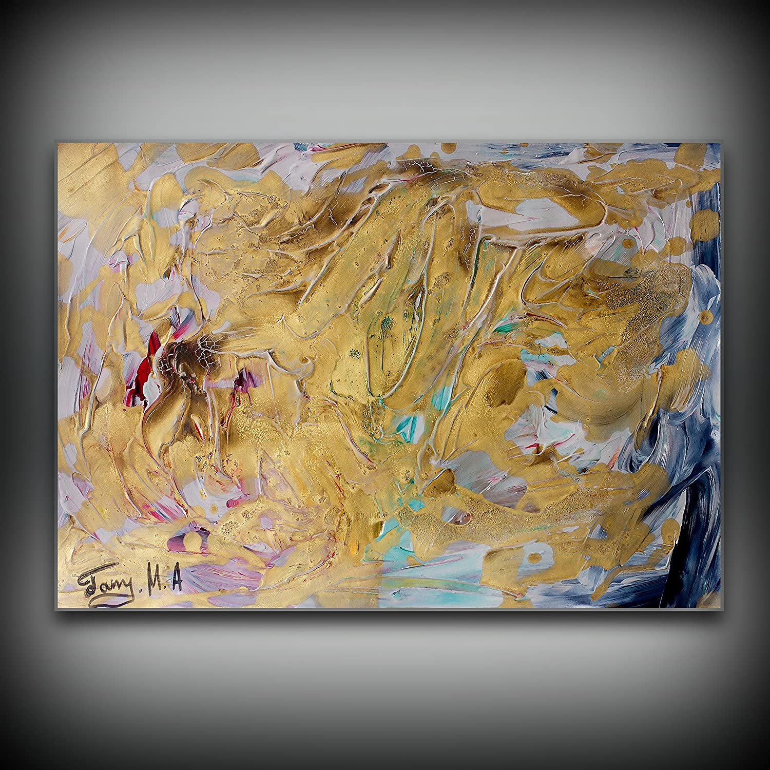 Amazon com gold abstract art acrylic wall art artwork paintings for sale contemporary art art painting design small wall art paper abstract art