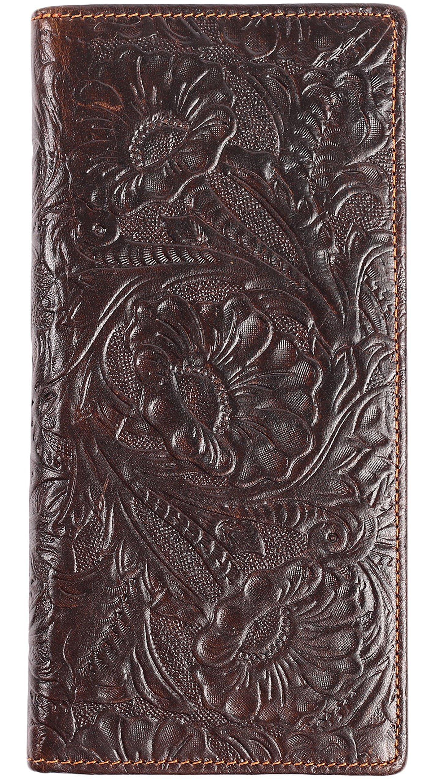 Womens Ladies Genuine Leather Wallet Long Embossing Bifold Wallet Clutch Purse (Coffee)